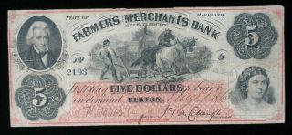 1863 $5 Farmers And Merchants Bank Cecil County Maryland Obsolete Currency