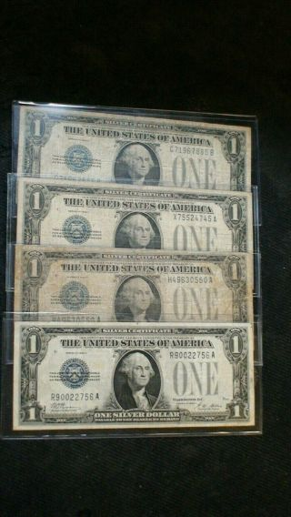 Four 1928 B One Dollar Funny Back Vf,  Silver Certificates 4 Notes $1 Bills