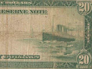 Large 1914 $20 Dollar Federal Reserve Note Currency Big Paper Money F 988 Pmg 15
