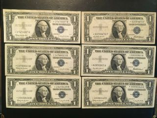 Usa (6 Notes) 1 Dollar 1957,  1957 B,  1935 F - - All Star Notes - - Silver