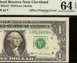 1995 $1 Dollar Bill Partial Offset Print Error Note Currency Paper Money Pmg 64