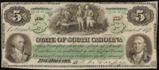 Large 1873 $5 Dollar Bill South Carolina Note Currency Old Paper Money