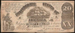1861 $20 Dollar Confederate States Currency Civil War Ship Note Paper Money T - 18