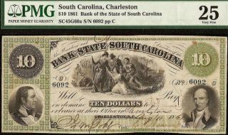 1861 $10 Dollar South Carolina Bank Note Large Currency Old Paper Money Pmg 25