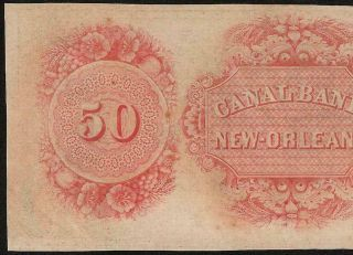 Unc 1850s $50 Dollar Orleans Canal Bank Note Large Currency Old Paper Money