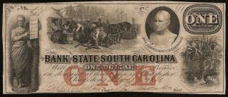 1861 $1 Dollar Bill South Carolina Bank Note Large Currency Old Paper Money
