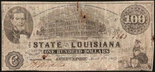 1863 $100 Dollar Bill State Of Louisiana Shreveport Banknote Old Paper Money
