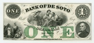1863 $1 The Bank Of De Soto,  Nebraska Note - Civil War Era Au,