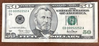 2001 $50 Fifty Dollar Bill Trinary Fancy Serial Number 00052252