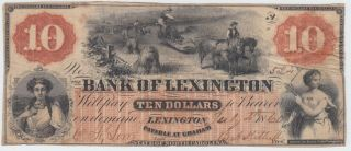 Bank Of Lexington North Carolina Nc Obsolete Bank Note $10 Dollars