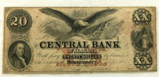 Pre Civil War Era Central Bank Of Montgomery Alabama $20 Note 1855