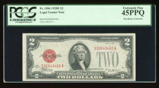 Dbr 1928 - E $2 Legal Vinson Fr.  1506 Pcgs 45 Ppq Serial D36849460a