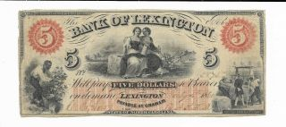 $5 1860 North Carolina Bank Of Lexington Serial Number 5873 Two Maids Slave