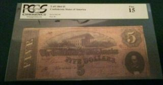 1864 T - 69 $5 The Confederate States Of America Note - Civil War Era Pcgs