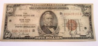 1929 $50 National Currency Note Federal Reserve Bank Of York Brown Seal