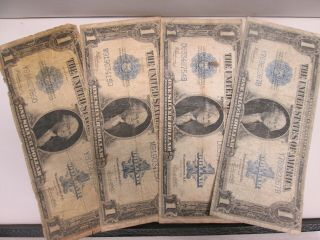 Four 1923 Us $1 Silver Certificate Large Notes