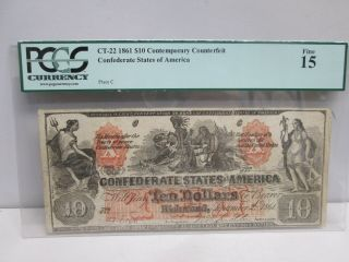 1861 Confederate States $10 Large Note - Pcgs Fine 15