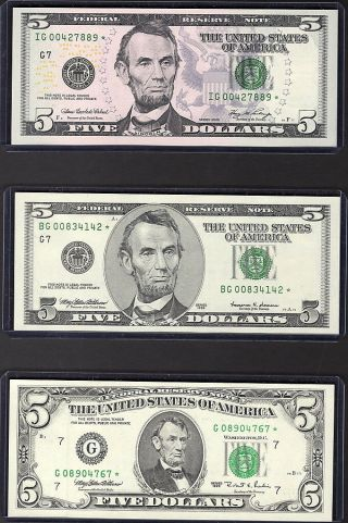 Three $5 Chicago Star Notes - Evolution Design Of 1995,  1999 & 2006 Series