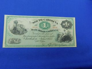 "1873 $1 The South Carolina Rail Road Company "" Fare Ticket "" Note W/ Train Cu"