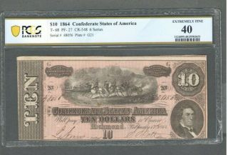 1864 $10 Ten Dollar Confederate States Of America Pcgs 40 Extremely Fine - S317