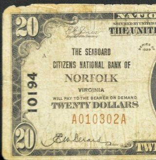 1929 $20 National Bank Note ✪ Norfolk Va ✪ Vf Very Fine L@@k Now 302 ◢trusted◣