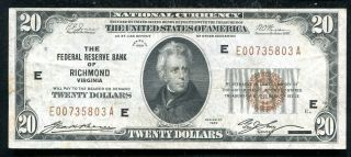 Fr.  1870 - E 1929 $20 Frbn Federal Reserve Bank Note Richmond,  Va Xf (f)