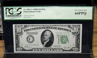 1928 - B $10 Federal Reserve Note ✪ Pcgs 64 - Ppq ✪ Fr 2002 - C Dgs Epq L@@k ◢trusted◣