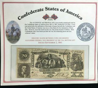 1861 $20 Confederate States Of America Banknote No 133343