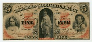 1860 $5 The Farmers And Mechanics Bank - Savannah,  Georgia Note