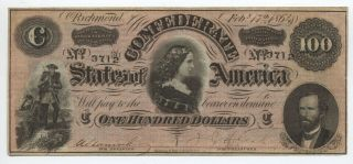 1864 Confederate States $100 Note Cs - 65 [y5648]