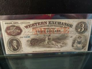 1857 $3 Western Exchange Omaha City Ne Ch.  Unc.