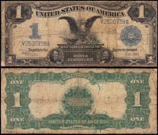 Circulated 1899 $1 Black Eagle Silver Certificate V2520738a