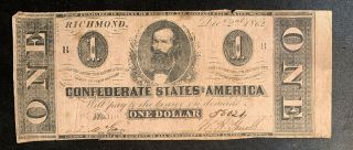 1862 $1 Us Confederate States Of America Richmond 8