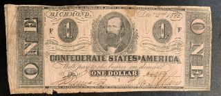 1862 $1 Us Confederate States Of America Richmond 9