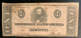 1862 $1 Us Confederate States Of America Richmond 10