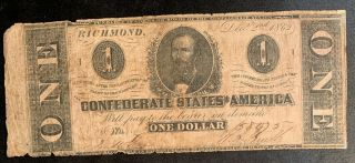 1862 $1 Us Confederate States Of America Richmond 11