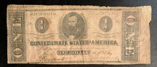 1862 $1 Us Confederate States Of America Richmond 14