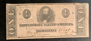 1862 $1 Us Confederate States Of America Richmond 16