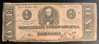 1862 $1 Us Confederate States Of America Richmond 17