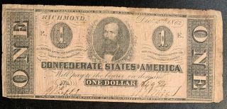 1862 $1 Us Confederate States Of America Richmond 19