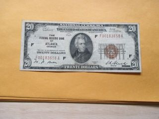 1929 $10 The Federal Reserve Bank Of Alanta,  Georgia