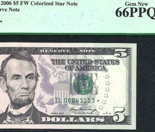 2006 $5 Star (san Francisco) Pcgs Gem 66ppq Old Us Paper Money