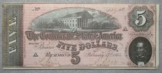 Civil War Relic Confederate $5.  00 Note, .  Unbent & Unwrinkled.