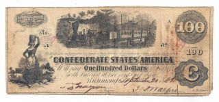 T - 40 Pf - 1 Cr - 298 1862 Confederate States Of America $100 Note No.  50659