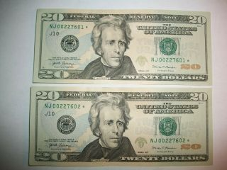 2 Consecutively Numbered $20 Dollar Federal Reserve Star Notes - Lqqk