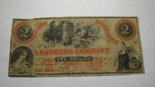$2 1867 Augusta Georgia Ga Obsolete Currency Bank Note Bill Banking Company