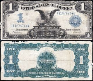 Circulated 1899 $1 Black Eagle Silver Certificate T11674714a