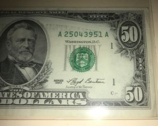 1993 $50 Dollar Bill,  Good Cond.  Obverse Ink Error Boston A25043951a