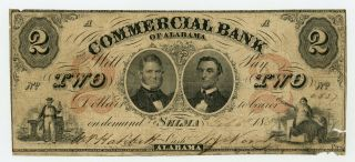 1857 $2 The Commercial Bank Of Alabama - Selma,  Alabama Note