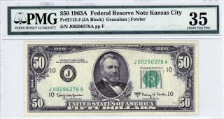 $50 1963a Federal Reserve Note Kansas City Fr 2113 - J (ja Block) Pmg 35